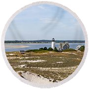 Sandy Neck Lighthouse With Fishing Boat Round Beach Towel