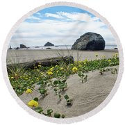 Sandy Point Of View Round Beach Towel by Adria Trail