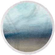Sandy Shore- Art By Linda Woods Round Beach Towel by Linda Woods