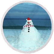 Sandy The Snowman Round Beach Towel