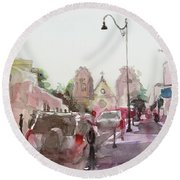 Round Beach Towel featuring the painting Sanfransisco Street by Becky Kim