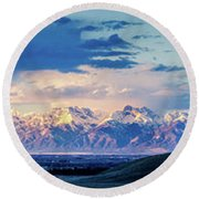 Sangre De Cristo Mountains Of Colorado Panorama Round Beach Towel