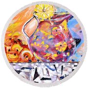 Sangria  Round Beach Towel by Evelina Popilian