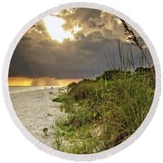 Round Beach Towel featuring the photograph Sanibel Dune At Sunset by Greg Mimbs