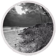 Round Beach Towel featuring the photograph Sanibel Dune At Sunset In Black And White by Greg Mimbs