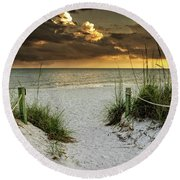 Round Beach Towel featuring the photograph Sanibel Island Beach Access by Greg Mimbs