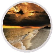 Round Beach Towel featuring the photograph Sanibel Island Rain by Greg Mimbs