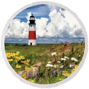 Round Beach Towel featuring the painting Sankaty Head Lighthouse by Christopher Arndt