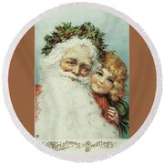 Santa And His Little Admirer Round Beach Towel by Reynold Jay