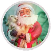 Santa And Lab Pup Round Beach Towel