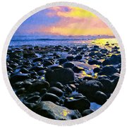 Santa Barbara Beach Sunset California Round Beach Towel