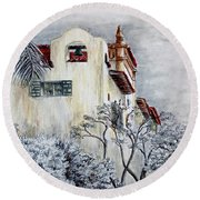 Santa Barbara Courthouse Bell Tower Round Beach Towel
