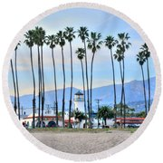 Santa Barbara From The Sea Round Beach Towel