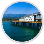 Round Beach Towel featuring the photograph Santa Barbara Pier by Dany Lison