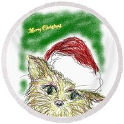 Santa Cat Round Beach Towel