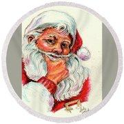 Santa Checking Twice Christmas Image Round Beach Towel