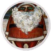 Santa Claus By Akiko Round Beach Towel