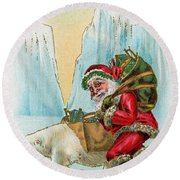 Santa Claus With A Polar Bear At The North Pole Round Beach Towel