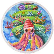 Santa Crab Round Beach Towel