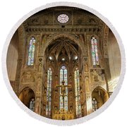 Round Beach Towel featuring the photograph Santa Croce Florence Italy by Joan Carroll