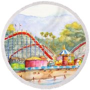 Santa Cruz Beach Boardwalk Round Beach Towel