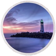 Santa Cruz Harbor Mouth Sunrise Round Beach Towel