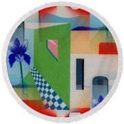 Santa Fe Adobe - #1 Round Beach Towel