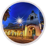 Santa Fe At Night Round Beach Towel