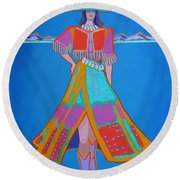 Santa Fe Girl  Round Beach Towel