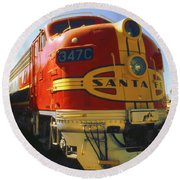 Santa Fe Railroad Round Beach Towel by Art America Gallery Peter Potter