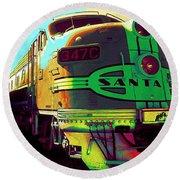 Santa Fe Railroad New Mexico Round Beach Towel