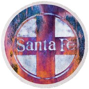 Round Beach Towel featuring the photograph Santa Fe Rr by Lou Novick