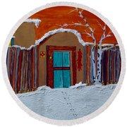 Santa Fe Snowstorm Round Beach Towel by Joseph Frank Baraba