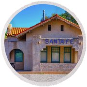 Santa Fe Station Round Beach Towel by Stephen Anderson