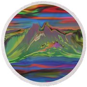 Santa Fe Sunset Round Beach Towel