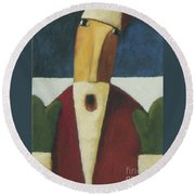Round Beach Towel featuring the painting Santa by Glenn Quist