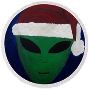 Round Beach Towel featuring the painting Santa Hat by Lola Connelly