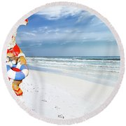 Santa Lifeguard Round Beach Towel