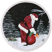 Santa Loves All Creatures Round Beach Towel