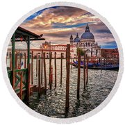 Santa Maria Della Salute From The Docks In Venice, Italy Round Beach Towel
