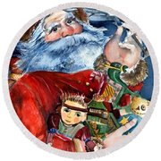 Santa Round Beach Towel by Mindy Newman