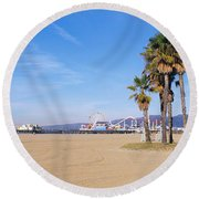 Santa Monica Beach Ca Round Beach Towel by Panoramic Images