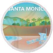 Santa Monica California Horizontal Scene Round Beach Towel