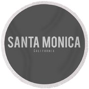 Santa Monica California Round Beach Towel