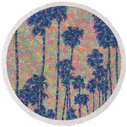 Round Beach Towel featuring the painting Santa Monica by Keith McGill