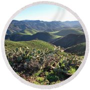 Round Beach Towel featuring the photograph Santa Monica Mountains - Hills And Cactus by Matt Harang