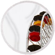 Santa Monica Pier Ferris Wheel- By Linda Woods Round Beach Towel by Linda Woods