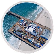 Santa Monica Pier From Above Side Round Beach Towel