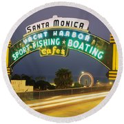Santa Monica Pier Sign Santa Monica Ca Round Beach Towel by Panoramic Images