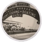 Santa Monica Sign Series Modern Vintage Round Beach Towel